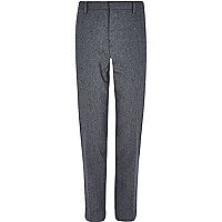 Grey herringbone wool-blend slim trousers