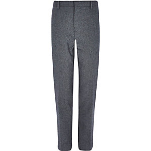 Grey herringbone wool-blend slim fit trousers