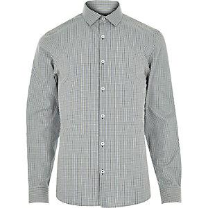 Blue green gingham shirt