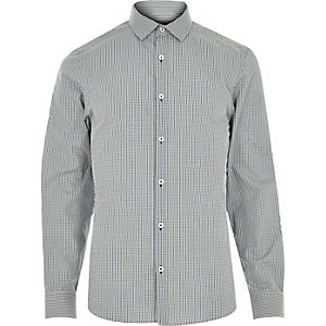 Blue green gingham shirt