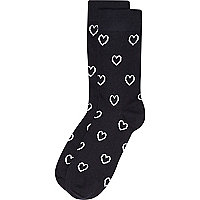 Navy love heart valentine socks