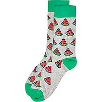 Grey watermelon print socks