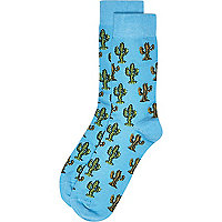 Blue cactus print socks