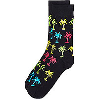 Navy multicoloured palm tree print socks