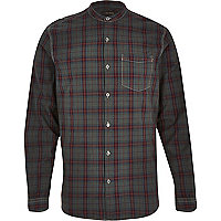 Grey tartan check grandad long sleeve shirt