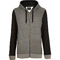 Grey textured sleeve zip through hoodie