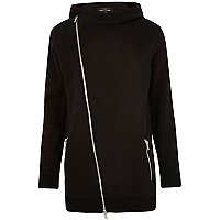 Black asymmetric zip longer length hoodie