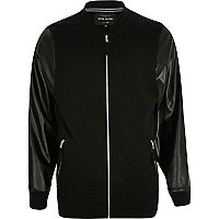 Black leather-look sleeve bomber jacket