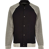 Black zip through raglan sleeve bomber jacket