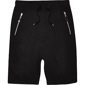 Black drop crotch shorts
