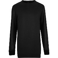 Black quilted sleeve longer length sweatshirt