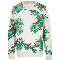 Grey palm print sweatshirt