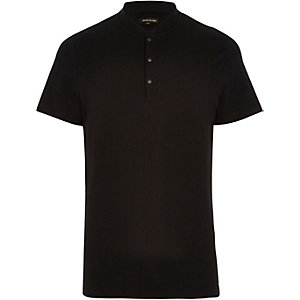 Black baseball neck polo shirt