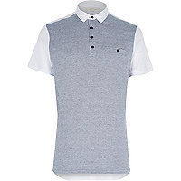 White jacquard front polo shirt