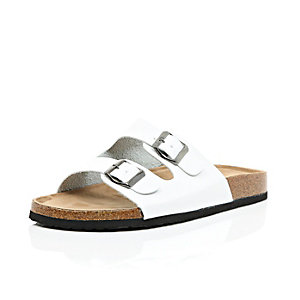 White chunky double strap slip on sandals