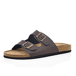 Brown chunky double strap slip on sandals