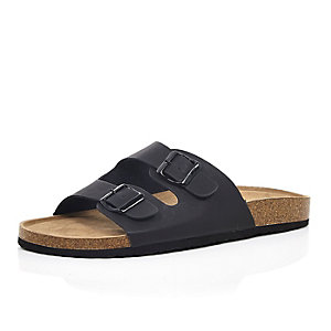 Black chunky strap slip on sandals