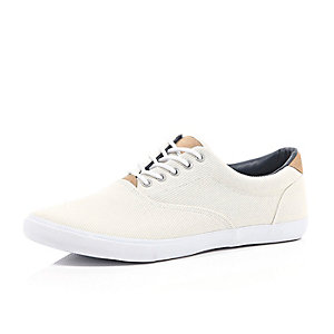 Ecru lace up plimsolls