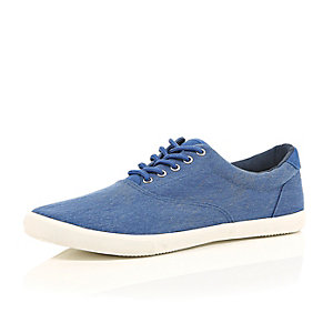 Blue acid wash lace up plimsolls
