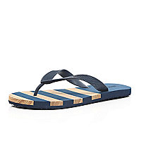 Blue stripe flip flops