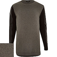 Grey contrast leather-look sleeve jumper