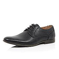 Black stitch detail round formal shoes