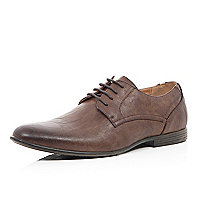 Brown round toe formal panel shoes