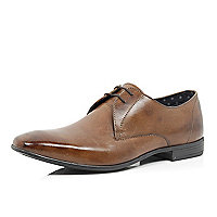 Brown leather square toe formal lace up shoes