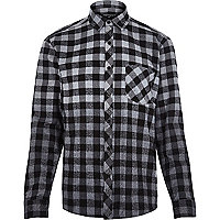 Grey Antioch dip dye check shirt