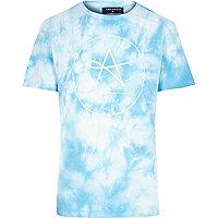 Blue Antioch tie dye logo t-shirt