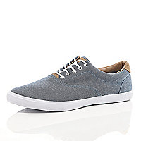 Navy chambray lace up plimsolls