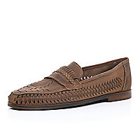 Brown leather woven slip on shoes