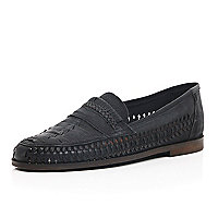 Black leather woven slip on shoes