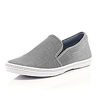 Grey canvas slip on plimsolls