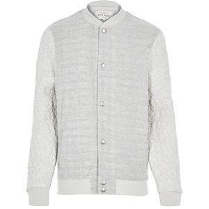 Ecru textured quilted bomber jacket