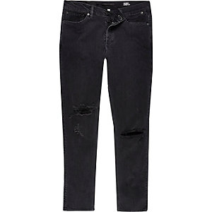 Black wash ripped Eddy skinny stretch jeans