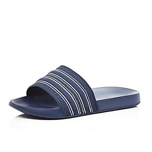 Navy striped sliders