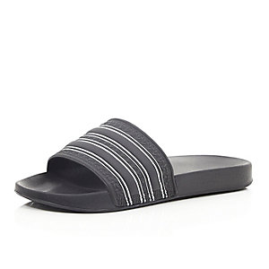 Black striped sliders