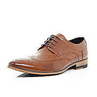 Brown leather panelled lace up brogues