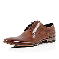 Brown textured leather formal lace up shoes