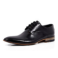 Black textured leather lace up formal shoes