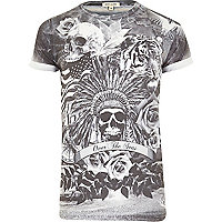 Grey skull collage print t-shirt