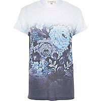 Blue floral fade print t-shirt