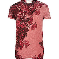 Red washed floral print t-shirt