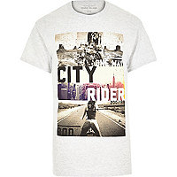 Grey city rider graphic print t-shirt