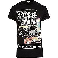 Black downtown print t-shirt