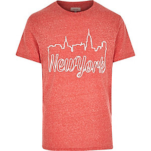 Red New York skyline short sleeve t-shirt