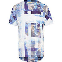 Blue tiled cloud print curved hem t-shirt