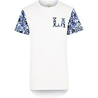 White curved hem floral LA t-shirt