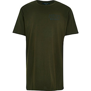 Green Seattle print longer length t-shirt
